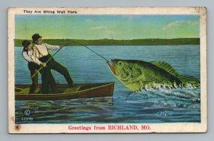 They are Biting Big Fish Fishing Comical Richland MO Missouri Postcard