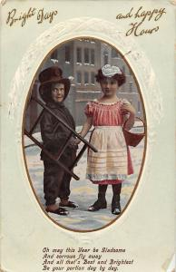 Bright Days and Happy Hours children basket ladder costumes 1911