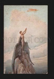 077275 Winged NUDE Man ICARE by SOLOMKO vintage color PC