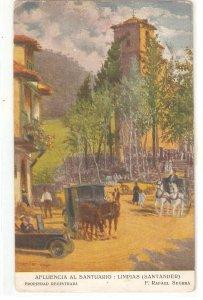 Afluencia al Santuario. Car. Horses Nice Spanish postcard 1930s