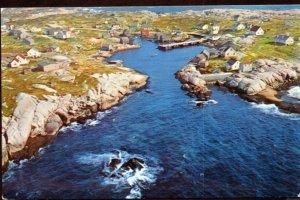 Nova Scotia Aerial View of PEGGY'S COVE located St. Margarets Bay - Chrome