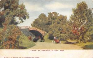 St Paul Minnesota~Viaduct @ Como Park~People in Car & Horse Carriage~c1905 Pc