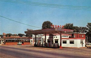 Auburn Maine Jimmy's Diner and Texaco Gas Station Vintage Postcard JJ649051
