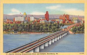 11950  PA Harrisburgh 1940's   Susquehanna   Bridge