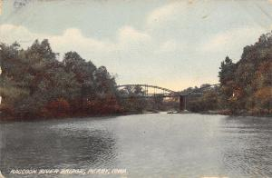Perry Iowa~Demolished Bowstring Thru Truss Bridge Over the Raccoon River c1914
