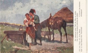 Couple Romance on the way. Horse Nice vintage Polish postcard