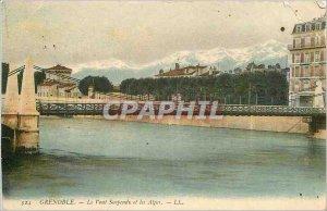 Old Postcard Grenoble Suspension Bridge and the Alps