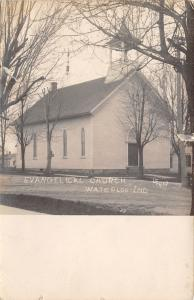 Waterloo Indiana~Evangelical Church~1908 Postcard RPPC To Ralph Getts, Goshen