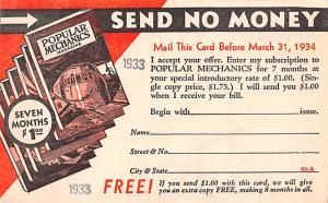 Publications Advertising Old Vintage Antique Post Card Popular Mechanics Unused