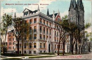 Vtg 1909 Marquette University and Gesu Church Milwaukee Wisconsin WI Postcard