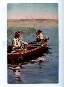 224327 RUSSIA Makovsky Fisherman Lapina #621 FISHING postcard