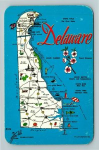 DE- Delaware, State Map Roadways, Chrome Postcard