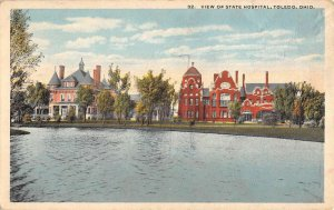 Toledo Ohio view of State Hospital across water antique pc ZE686218