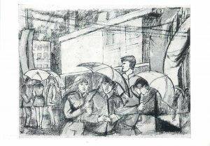 Art Painting drawing etching Postcard Peter Jensen Modelbauer