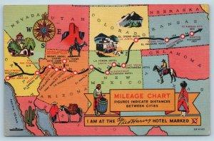 Postcard Fred Harvey Hotels Santa Fe Railroad Route Map Mileage Chart c1940s T1