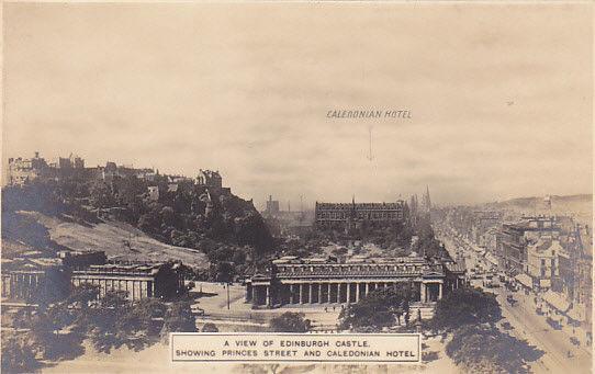 Edinburgh Castle showing Princes Street and Caledron Hotel, Scotland, UK, 00-10s