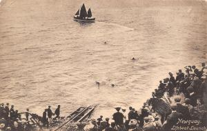 Newquay Cornwall UK Crowd Watches the Launch of the Tree-Sail Lifeboat c1910