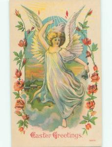 Pre-Linen Easter BEAUTIFUL ANGEL FLYING OVER THE TOWN AB4023