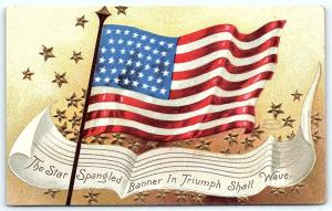 Postcard Patriotic US 46 Star Flag Star Spangled Banner in Triumph 1908 #1 F04