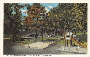 Pen-Mar Pennsylvania~Children's Playground & Picnic Grove~Kids @ Slide~1920s Pc