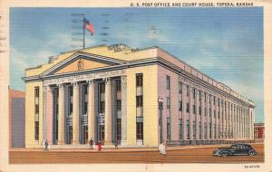 U.S. Post Office & Court House, Topeka, Kansas, Early Postcard,Used in 1949
