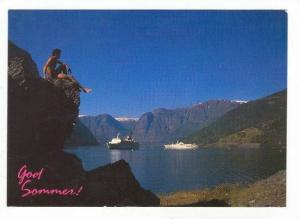 Norway, Summer at Sognefjord, Ocean Liner Ship, PU-1990