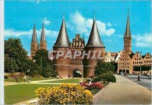 Modern Postcard Hansestadt Lubeck Blick auf St. Marien und Holsten St Petri