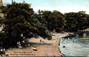 Maine Portland Peaks Island Shore Scene 1909