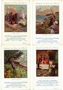 ADVERTISING TRAINS, CHEMIN DE FER POSTER STYLE 15 Vintage Postcards (L2737)
