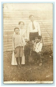 1912 Family with Dog Purcell Missouri MO Antique RPPC Photo Postcard