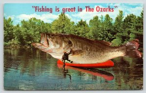 Fishing is Great in Osage Beach~Lake Ozarks MO~Exaggerated Fish in Canoe~1970