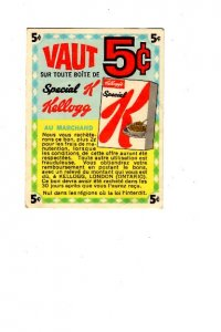 Vintage Kellogg's Coupon, 5C Off Special K  Advertising, French, English Sides