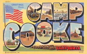 Camp Cooke California~Military Large Letter Linen~Missile Launcher~Chapel WWII