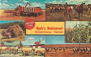 Greetings from Burk's Restaurant Greensburg Kansas KS Chrome