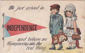 Iowa Independence We Just Arrived 1915 Pennant Series