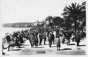 Nice France Beach Scene Real Photo Antique Postcard J45363
