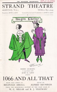 1066 And All That Strand Clarice Hardwicke Musical Theatre Programme