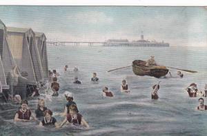 Man Rowing in Boat, Clifton Belle, People Bathing in Ocean Near Pier, 00-10´s