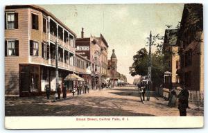 Postcard RI Central Falls Pre 1908 View of Broad Street  A33