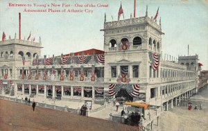 Entrance to Young's New Pier, Atlantic City, New Jersey, Early Postcard, Unused