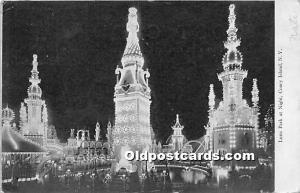 Amusement Park Postcard Post Card Luna Park at Night Coney Island, New York, ...