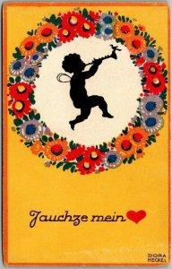 Vintage GERMAN Greetings Postcard Jauchze Mein Cupid Fairy Silhouette c1910s