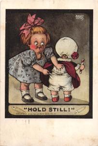 ARTIST SIGNED Postcard 1910 AUGUST HUTAF Hold Still Kids Comic 92