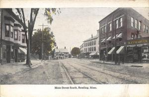 Reading MA Main Street South Storefronts M. F. Charles Store Postcard
