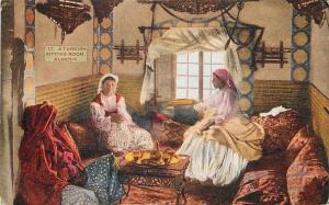 Algeria North Africa~Turkish Sitting Room For Women Of Moslem Harem~Pillows~1910