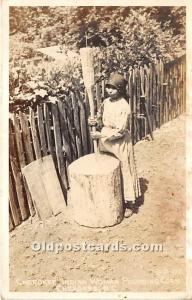 Cherokee Indian Woman Pounding Corn Cherokee, North Carolina, NC, USA 1957 Mi...