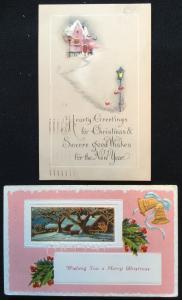 Postcard (2) Christmas PM-1925 1917  LB