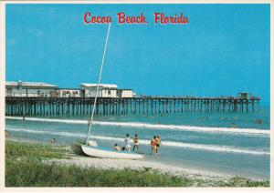 Canaveral Pier, Sailboat at Shore, Beach Scene, COCOA BEACH, Florida, 50-70´s