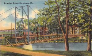 Skowhegan Maine~Swinging Bridge Spanning Kennebec River~1940s Postcard