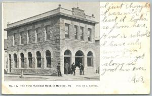 HAWLEY PA FIRST NATIONAL BANK 1907 ANTIQUE POSTCARD PRIVATE MAILING CARD
